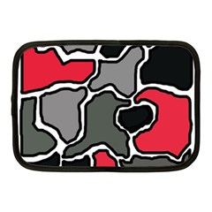Black, gray and red abstraction Netbook Case (Medium)