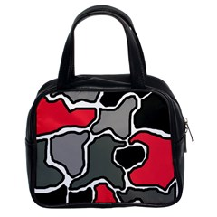 Black, gray and red abstraction Classic Handbags (2 Sides)