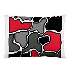 Black, gray and red abstraction Pillow Case