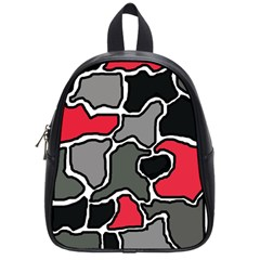 Black, gray and red abstraction School Bags (Small)