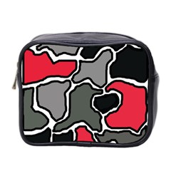 Black, gray and red abstraction Mini Toiletries Bag 2-Side