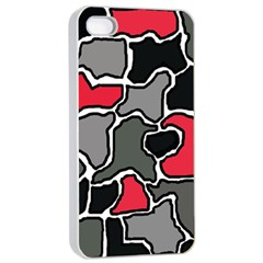 Black, gray and red abstraction Apple iPhone 4/4s Seamless Case (White)