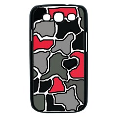 Black, gray and red abstraction Samsung Galaxy S III Case (Black)