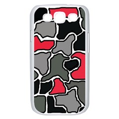 Black, gray and red abstraction Samsung Galaxy S III Case (White)