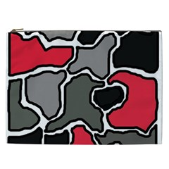 Black, gray and red abstraction Cosmetic Bag (XXL)