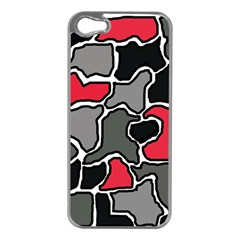 Black, gray and red abstraction Apple iPhone 5 Case (Silver)