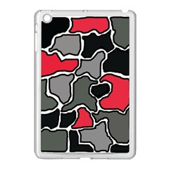 Black, gray and red abstraction Apple iPad Mini Case (White)