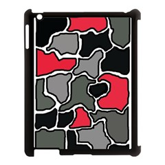 Black, gray and red abstraction Apple iPad 3/4 Case (Black)