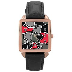 Black, gray and red abstraction Rose Gold Leather Watch