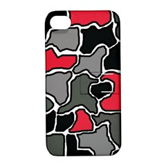 Black, gray and red abstraction Apple iPhone 4/4S Hardshell Case with Stand