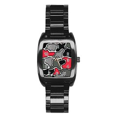 Black, gray and red abstraction Stainless Steel Barrel Watch