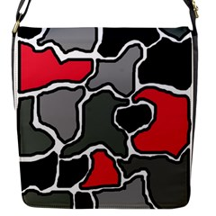 Black, gray and red abstraction Flap Messenger Bag (S)
