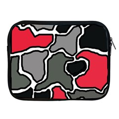 Black, gray and red abstraction Apple iPad 2/3/4 Zipper Cases