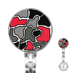 Black, gray and red abstraction Stainless Steel Nurses Watch