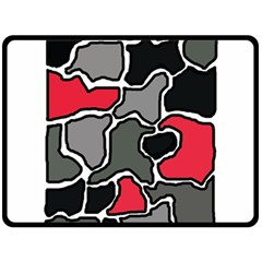 Black, gray and red abstraction Double Sided Fleece Blanket (Large)