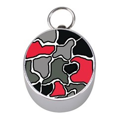 Black, gray and red abstraction Mini Silver Compasses