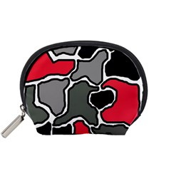 Black, gray and red abstraction Accessory Pouches (Small)