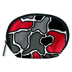 Black, gray and red abstraction Accessory Pouches (Medium)