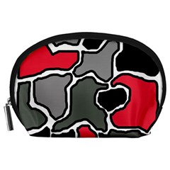 Black, gray and red abstraction Accessory Pouches (Large)