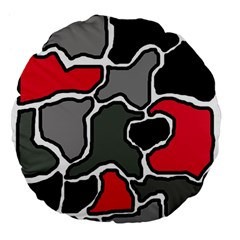 Black, gray and red abstraction Large 18  Premium Flano Round Cushions