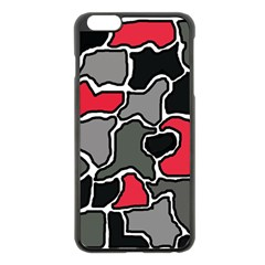 Black, gray and red abstraction Apple iPhone 6 Plus/6S Plus Black Enamel Case