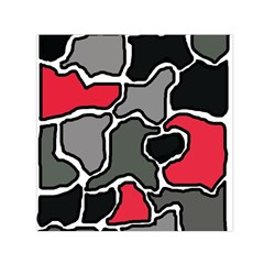Black, Gray And Red Abstraction Small Satin Scarf (square)