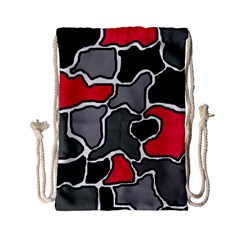 Black, gray and red abstraction Drawstring Bag (Small)