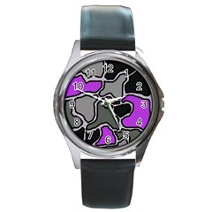 Purple and gray abstraction Round Metal Watch