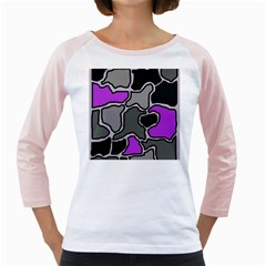 Purple and gray abstraction Girly Raglans