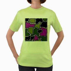 Purple and gray abstraction Women s Green T-Shirt