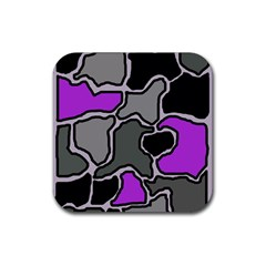 Purple and gray abstraction Rubber Square Coaster (4 pack)