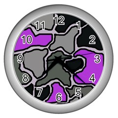 Purple and gray abstraction Wall Clocks (Silver)