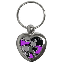 Purple and gray abstraction Key Chains (Heart)