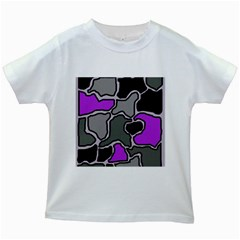 Purple and gray abstraction Kids White T-Shirts