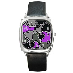 Purple and gray abstraction Square Metal Watch