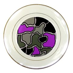 Purple and gray abstraction Porcelain Plates