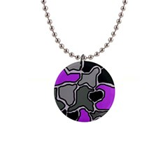 Purple and gray abstraction Button Necklaces