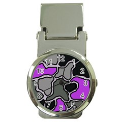Purple and gray abstraction Money Clip Watches