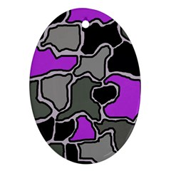 Purple and gray abstraction Oval Ornament (Two Sides)