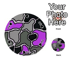 Purple and gray abstraction Playing Cards 54 (Round)