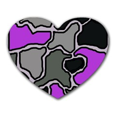 Purple and gray abstraction Heart Mousepads