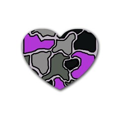 Purple and gray abstraction Heart Coaster (4 pack)