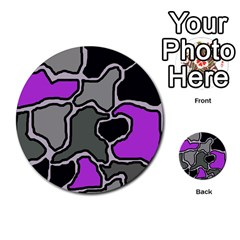 Purple and gray abstraction Multi-purpose Cards (Round)