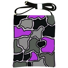 Purple and gray abstraction Shoulder Sling Bags