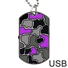 Purple and gray abstraction Dog Tag USB Flash (Two Sides)