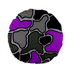 Purple and gray abstraction Standard 15  Premium Round Cushions
