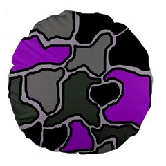 Purple and gray abstraction Large 18  Premium Round Cushions