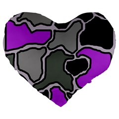 Purple and gray abstraction Large 19  Premium Heart Shape Cushions