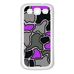 Purple and gray abstraction Samsung Galaxy S3 Back Case (White)