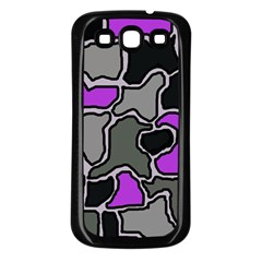 Purple and gray abstraction Samsung Galaxy S3 Back Case (Black)